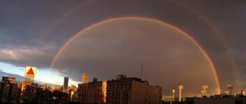 Double rainbow over Boston